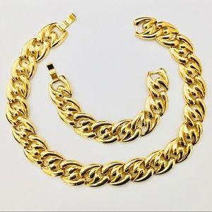 Vintage Shiny Gold Chunky Link Collar Bracelet